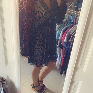 Altar'd State black velvet dress.
